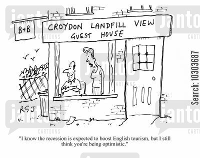 guest house cartoon humor: 'I know the recession is expected to boost English tourism, but I still think you're being optimistic.'