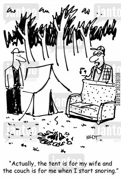 camping vacations cartoon humor: 'Actually, the tent is for my wife and the couch is for me when I start snoring.'