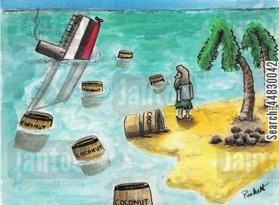 palm trees cartoon humor: A man on deserted island watches barrels of coconuts drift towards his already coconut laden dwelling place.