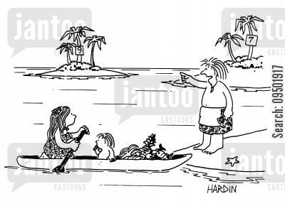being rescued cartoon humor: Food deliveries to desert islands.