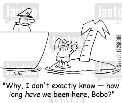 talk to yourself cartoon humor: 'Why, I don't exactly know -- how long HAVE we been here, Bobo?'