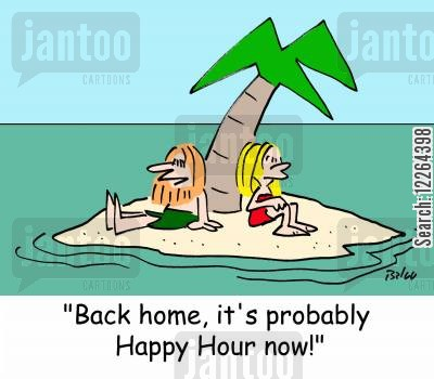 being rescued cartoon humor: 'Back home, it's probably Happy Hour now!'