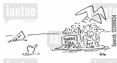 desert island cartoon humor: 'Sorry, Full'