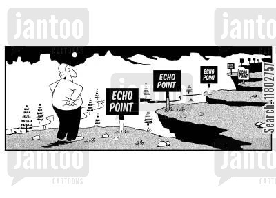 sound waves cartoon humor: Echo point...echo point...echo point...