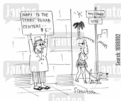 junkies cartoon humor: Maps to the Stars Rehab Centres.