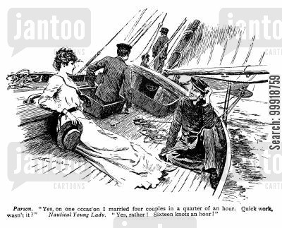 chaplains cartoon humor: Parson ad Nautical Young Lady.