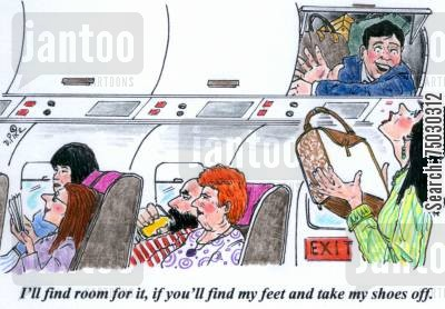 compartment cartoon humor: 'I'll find room for it, if you'll find my feet and take my shoes off.'