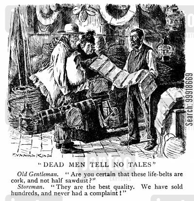 passenger ship cartoon humor: Dead Men Tell No Tales.