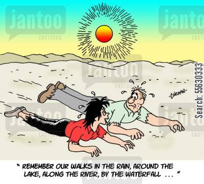fantasise cartoon humor: Thirsty Couple Crawling Through Desert.