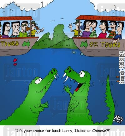gators cartoon humor: Two crocodiles are eyeing off two boats full Italian and Chinese tourist - 'It's your choice for lunch Larry, Italian or Chinese?'