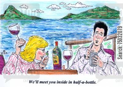 cruising cartoon humor: 'We'll meet you inside in half-a-bottle.'