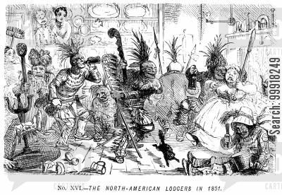 lodging house cartoon humor: Memorials of The Great Exhibition - 1851. No. XVI. - The North-American lodgers in 1851.