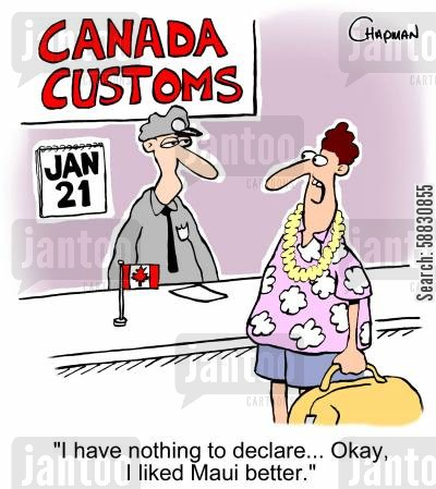 imports cartoon humor: 'I have nothing to declare... Okay, I liked Maui better.'