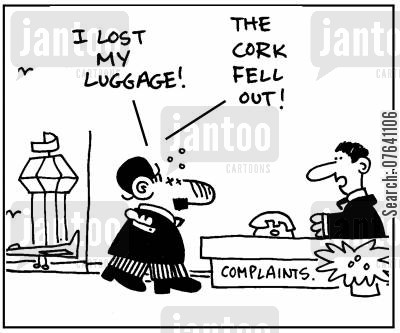 customs officials cartoon humor: 'I lost my luggage. The cork fell out.'