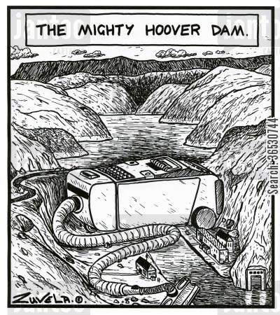 power station cartoon humor: The Mighty Hoover Dam.
