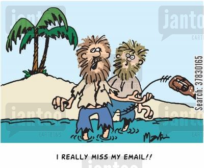 message in a bottle cartoon humor: I really miss my email.