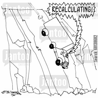 street cartoon humor: Recalculating!