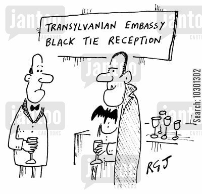 function cartoon humor: Transylvanian Embassy - Black Tie Reception