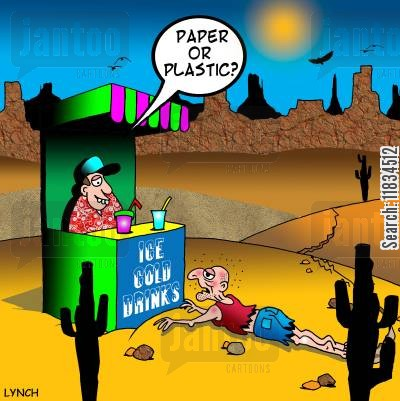 thirstiness cartoon humor: 'Paper or plastic?'