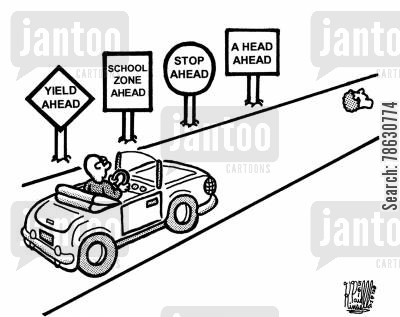 convertible cartoon humor: Yield ahead, school zone ahead,stop ahead,a head ahead.