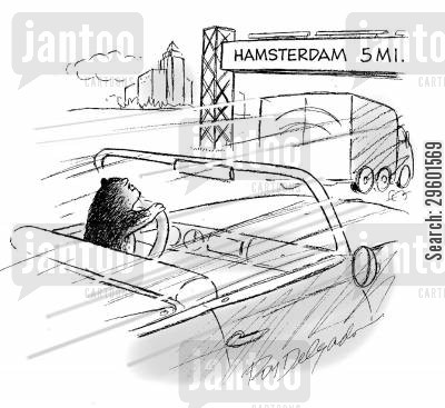 roadsign cartoon humor: 'Hamsterdam 5 Mi.'