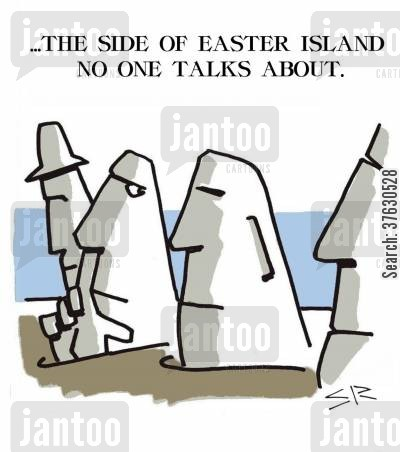 countries cartoon humor: ...The Side of Easter Island No One Talks About.