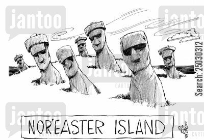 pacific oceans cartoon humor: Nor'easter Island.
