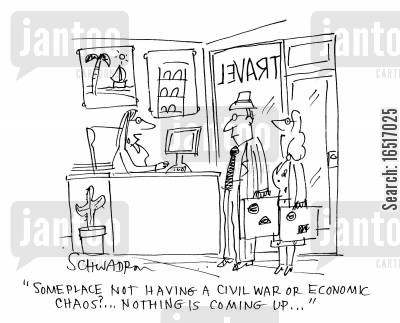 civil wars cartoon humor: 'Some place not having a civil war or economic chaos?. . . Nothing is coming up. . .'