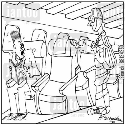 parachutist cartoon humor: Someone boards a plane in a parachuting outfit, helmet and all and sits next to a terrified passenger reading Fear of Flying.