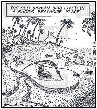 thong cartoon humor: The Old Woman who lived in a Shoe's Beachside Place.