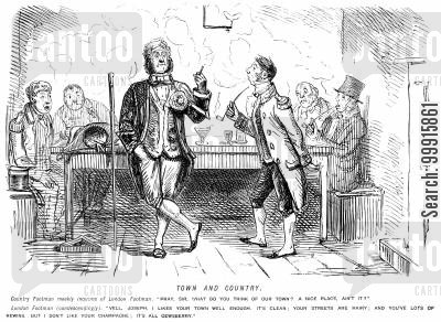 footmen cartoon humor: London footman talking to a country footman, saying the champaign is not very good in the country.