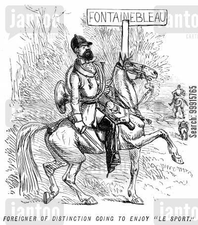 french huntsman cartoon humor: Foreigner of distinction going to enjoy 'le sport'.