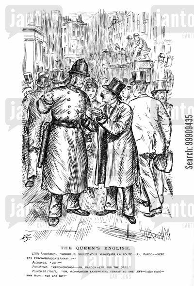 police force cartoon humor: A French Man Attempts To Asks For Directions.