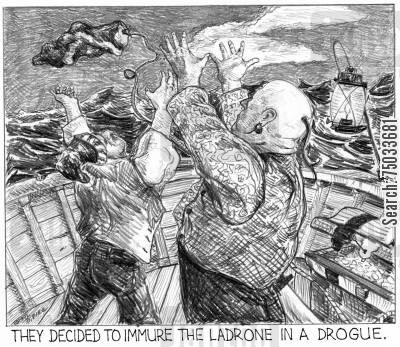 dictionary cartoon humor: 'They decided to immure the ladrone in a drogue.'