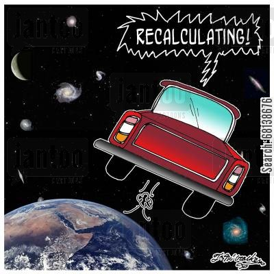 pickup truck cartoon humor: Recalculating!