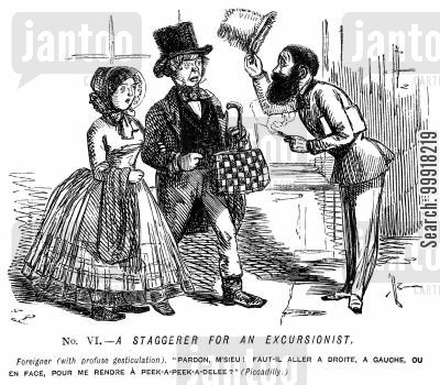 language cartoon humor: Memorials of The Great Exhibition - 1851. No. VI. - A staggerer for an excursionist.