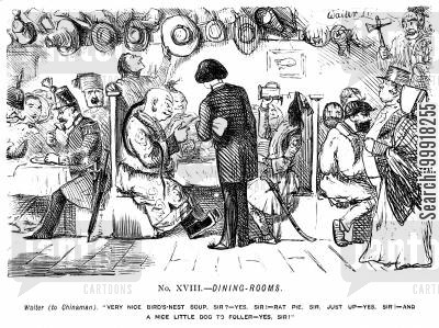 great exhibition 1851 cartoon humor: Memorials of The Great Exhibition - 1851. No. XVIII. - Dining-rooms.