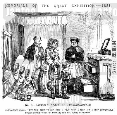 lodging house cartoon humor: Memorials of The Great Exhibition - 1851. No. I. - Crowded state of lodging-houses.