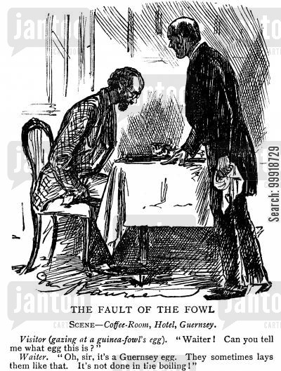 victorian food cartoon humor: The Fault of the Fowl