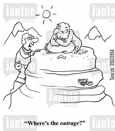 significance cartoon humor: Climber to guru: 'Where's the outrage?'