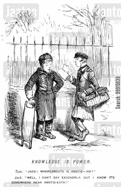 hampstead heath cartoon humor: 'Whereabouts is Amstid-am?' 'Well I can't say exackerly, but i know it's somewhere near Amstid-Eath!'