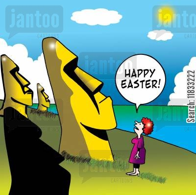 easter island statues cartoon humor: Happy Easter!