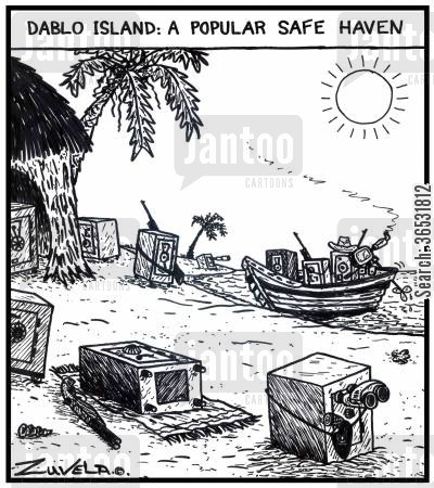 haven cartoon humor: Dablo island: a popular safe haven.