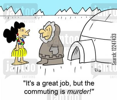 hula girl cartoon humor: 'It's a great job, but the commuting is murder!'
