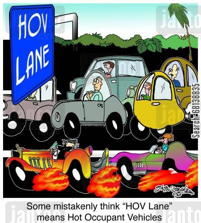 sports cars cartoon humor: Some mistakenly think 'HOV Lane' means Hot Occupant Vehicles.