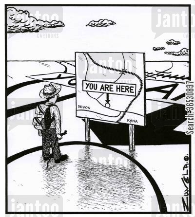contemporary cartoon humor: A Hiker comes across a 'You are here' sign, literally.