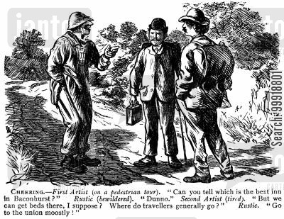 idyllic victorian country cartoon humor: Cheering