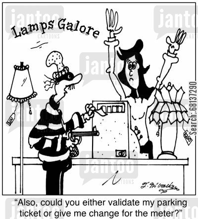 holdup cartoon humor: 'Also, could you either validate my parking ticket or give me change for the meter?'