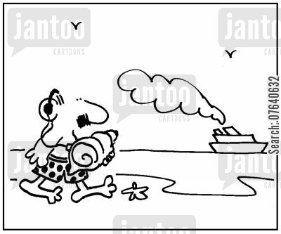 sea sounds cartoon humor: 'Sea shell with earphones attached.'