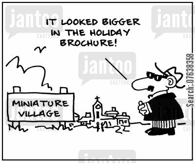 brochures cartoon humor: 'It looked bigger in the holiday brochure.'